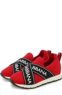 Текстильные кроссовки с контрастной эластичной отделкой Dolce & Gabbana
