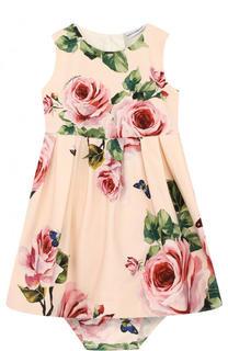 Хлопковый комплект из платья и трусов с принтом Dolce & Gabbana