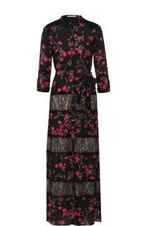 Приталенное платье-макси с принтом и кружевными вставками Alice + Olivia