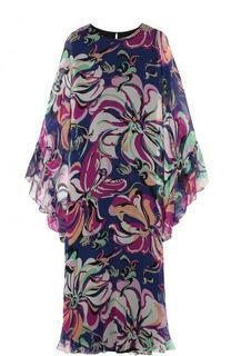 Шелковое платье-макси с оборками и принтом Emilio Pucci