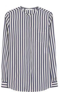 Шелковая блуза в полоску с воротником-стойкой Loro Piana
