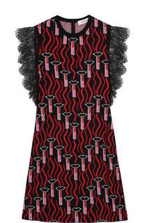 Приталенное мини-платье с принтом и кружевной отделкой Valentino