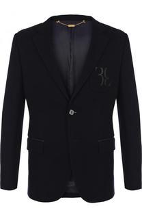 Однобортный хлопковый пиджак отделкой из кожи Billionaire