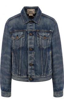 Джинсовая куртка с потертостями и декорированной спинкой Polo Ralph Lauren