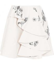 Кожаная мини-юбка с контрастной вышивкой Alexander McQueen