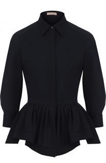 Шерстяная блуза с баской и укороченным рукавом Alaia