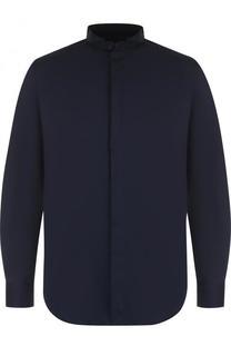 Хлопковая рубашка с воротником-стойкой Giorgio Armani