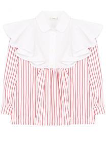 Хлопковая блуза в полоску с оборками Fendi Roma