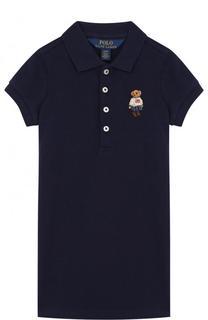 Хлопковое мини-платье прямого кроя с вышивкой Polo Ralph Lauren