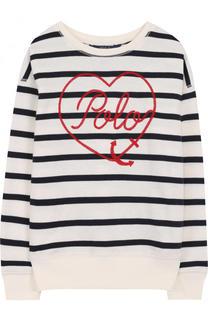 Хлопковый свитшот в полоску с контрастной вышивкой Polo Ralph Lauren