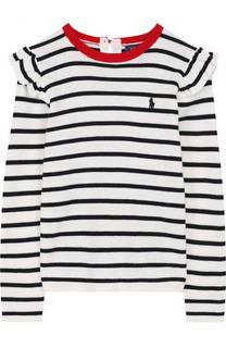 Хлопковый пуловер в полоску с оборками Polo Ralph Lauren