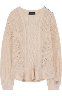 Пуловер фактурной вязки с оборкой Polo Ralph Lauren