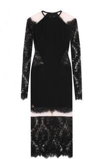 Платье-футляр с кружевными вставками и длинным рукавом Philipp Plein