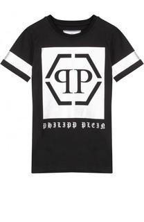 Хлопковая футболка с металлизированным принтом Philipp Plein