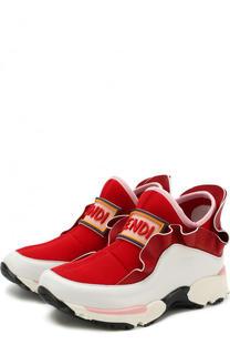 Кожаные кроссовки с оборками без шнуровки Fendi Roma