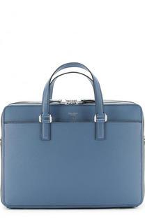 Кожаная сумка для ноутбука с двумя отделениями на молнии Serapian