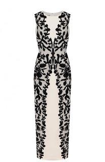 Шелковое платье-макси с контрастной отделкой и пайетками Oscar de la Renta
