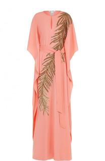 Шелковое платье-макси с поясом и контрастной вышивкой Oscar de la Renta