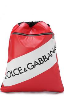 Рюкзак с логотипом бренда и кожаной отделкой Dolce & Gabbana