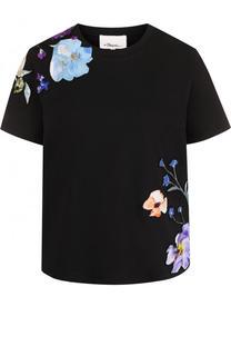 Хлопковая футболка с шелковой вышивкой 3.1 Phillip Lim