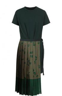 Хлопковое платье асимметричного кроя с принтом Sacai