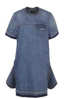 Джинсовое платье-мини с декоративными молниями Sacai