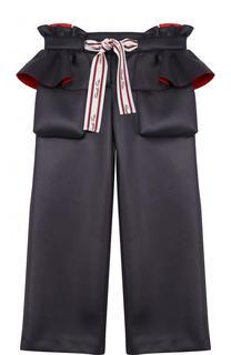 Укороченные брюки с оборками и контрастным поясом Fendi Roma