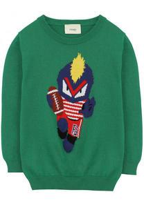 Хлопковый пуловер с принтом Fendi Roma