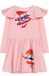 Хлопковое платье с принтом и оборками Fendi Roma