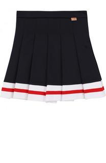 Хлопковая юбка с защипами и контрастной отделкой Fendi Roma