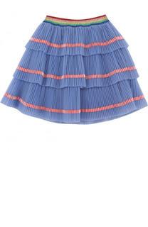 Многослойная юбка с плиссированными оборками и контрастной отделкой Gucci