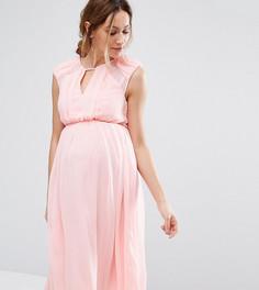 0c3bcff0d18 Приталенное шифоновое платье миди для беременных ASOS Maternity - Розовый