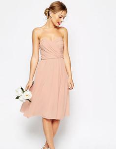 Платье миди с лифом‑бандо ASOS PETITE WEDDING - Розовый
