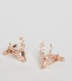Запонки с головой оленя цвета розового золота Simon Carter эксклюзивно для ASOS - Золотой