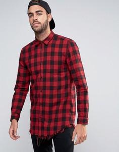 Красная удлиненная рубашка в клетку с рваной отделкой по краю River Island - Красный