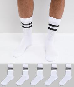 5 пар белых носков в спортивном стиле с полосками ASOS - Белый