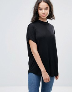 Драпированная футболка с высоким воротником Soaked In Luxury - Черный