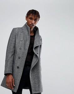 Пальто с узором в елочку и асимметричной застежкой на пуговицы Religion - Серый