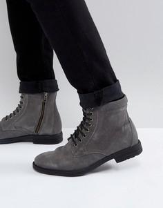 Черные ботинки на шнуровке в стиле милитари Kg By Kurt Geiger - Серый