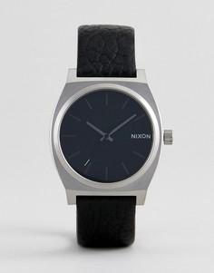 Черные часы с кожаным ремешком Nixon Time Teller - Черный