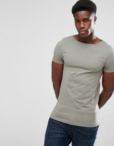 Зеленая обтягивающая футболка ASOS - Зеленый