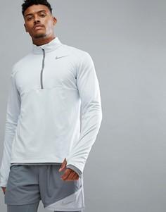 Серый свитшот с молнией 1/4 Nike Running 856827-043 - Серый