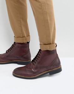 Бордовые кожаные ботинки броги Frank Wright - Красный