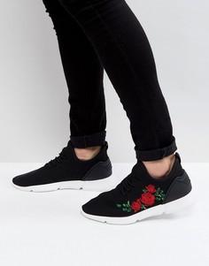 Черные кроссовки с вышитыми розами ASOS - Черный
