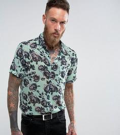 Рубашка классического кроя с короткими рукавами и принтом роз Reclaimed Vintage Inspired - Синий