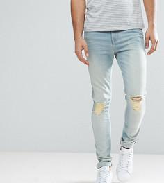 Голубые выбеленные джинсы скинни с рваной отделкой ASOS TALL - Синий