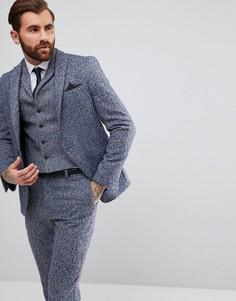 Синий пиджак узкого кроя из ткани с добавлением шерсти в крапинку ASOS - Синий