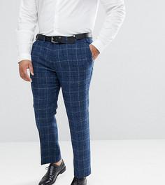 Синие облегающие брюки в клетку из 100% шерстяного харрис-твида с узором в елочку ASOS PLUS - Синий