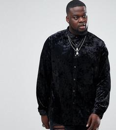 Черная рубашка классического кроя из мятого бархата ASOS PLUS - Черный