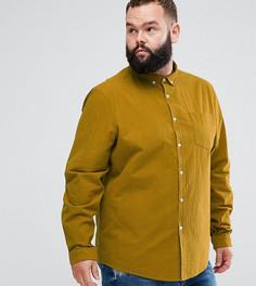 Фактурная рубашка классического кроя с нагрудным карманом ASOS PLUS - Желтый